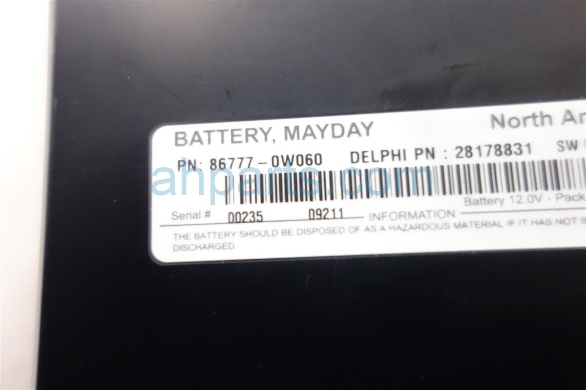 2010 Lexus Hs250h MAYDAY BATTERY UNIT 86777 0w060 Replacement