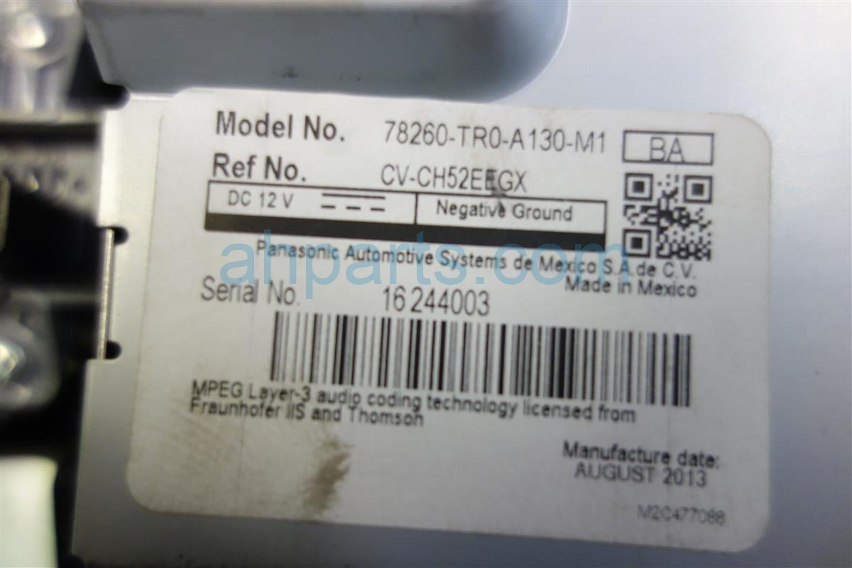 2013 Honda Civic CENTER INFO DISPLAY 78260 TR0 A13 78260TR0A13 Replacement