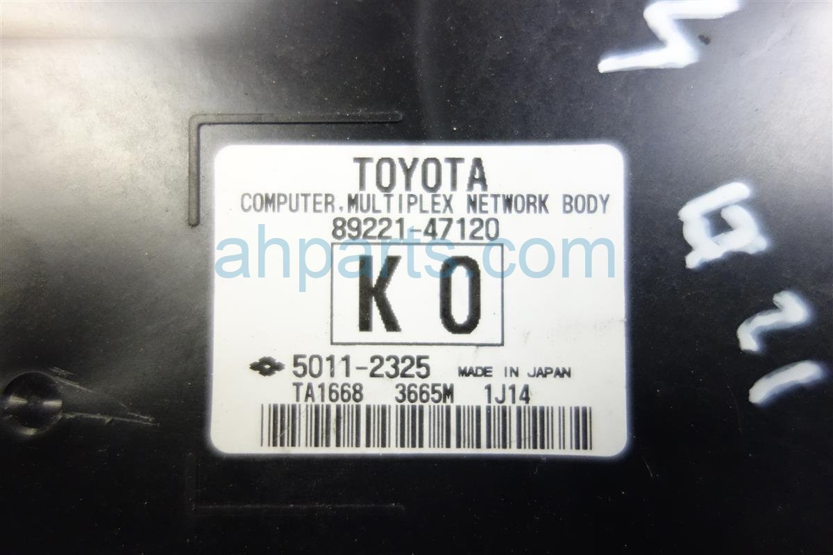 2011 Toyota Prius MULTIPLEX UNIT 89221 47120 Replacement