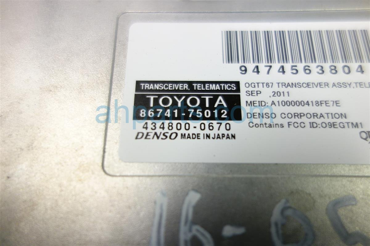 2011 Toyota Prius TELEMATICS TRANSCEIVER 86741 75012 86741 0E040 867410E040 Replacement