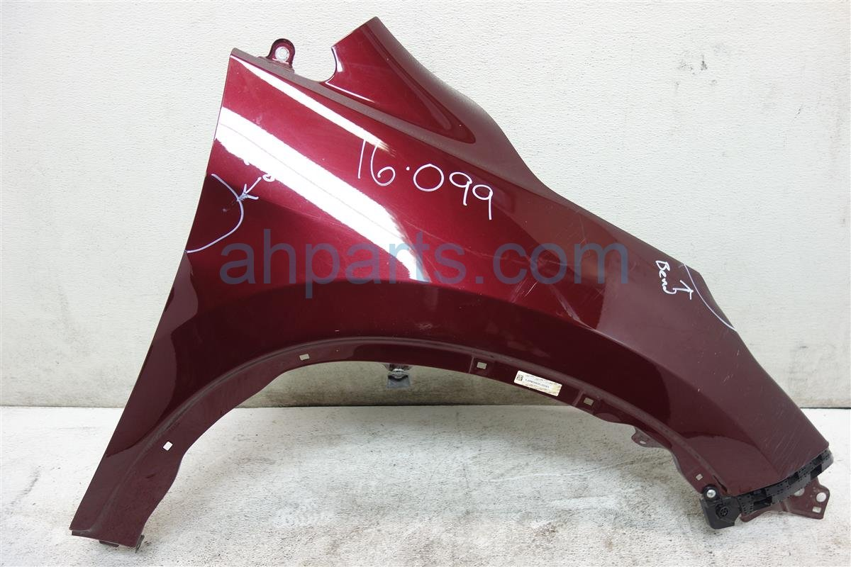 2015 Honda CR V Front Passenger FENDER BURGUNDY 2 DINGS 60210 T0A A90ZZ 60210T0AA90ZZ Replacement