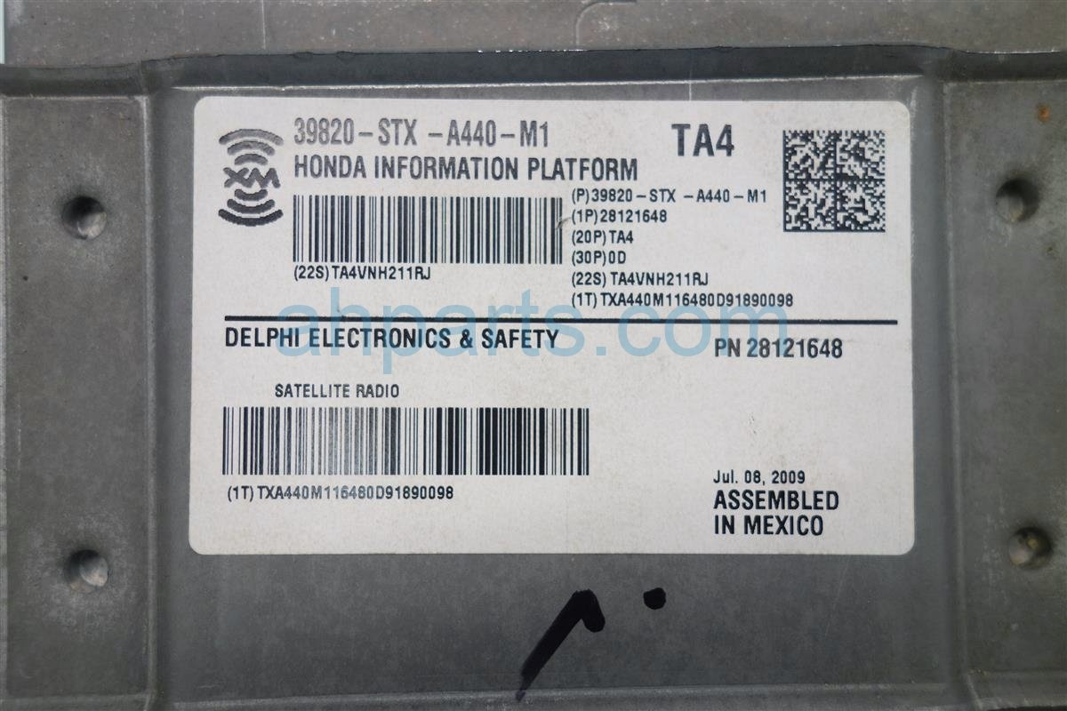 2009 Acura MDX XM UNIT 39820 STX A44 39820STXA44 Replacement