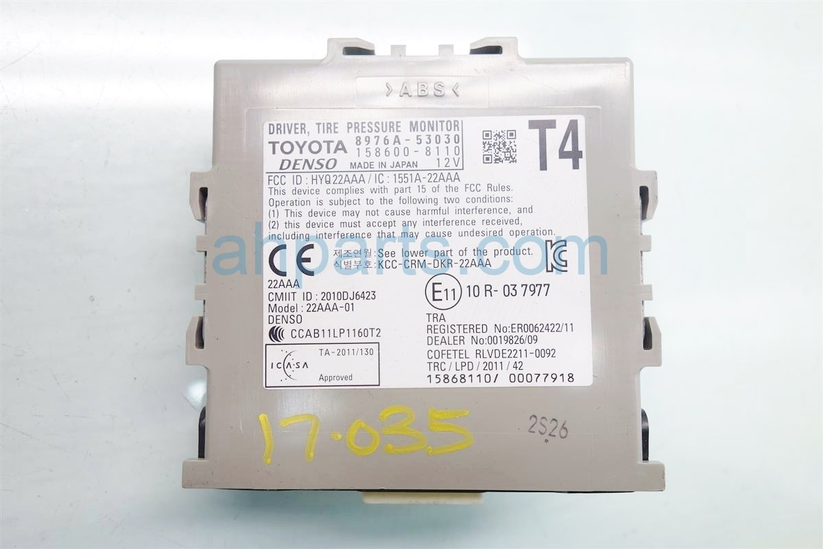 2015 Lexus Is 250 TPMS UNIT 8976A 53031 8976A 53030 8976A530318976A53030 Replacement