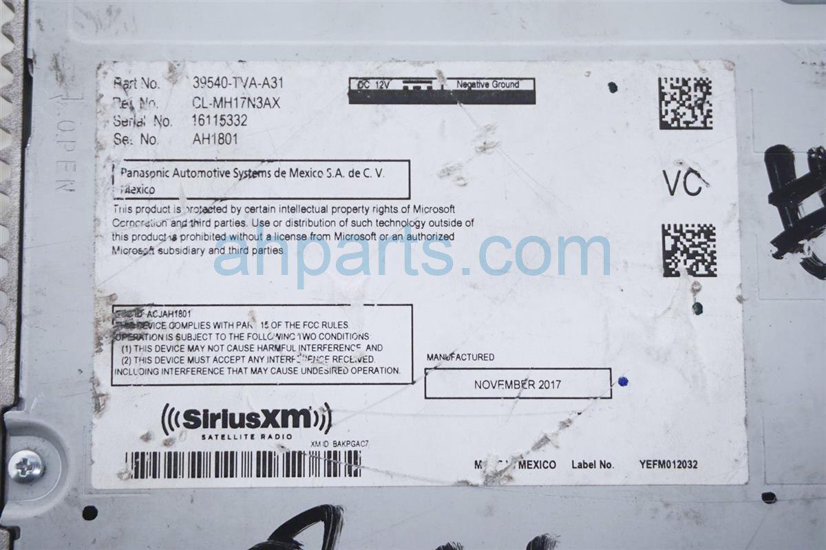 2018 Honda Accord Am/fm/ Radio Receiver 39540 TVA A32RM Replacement