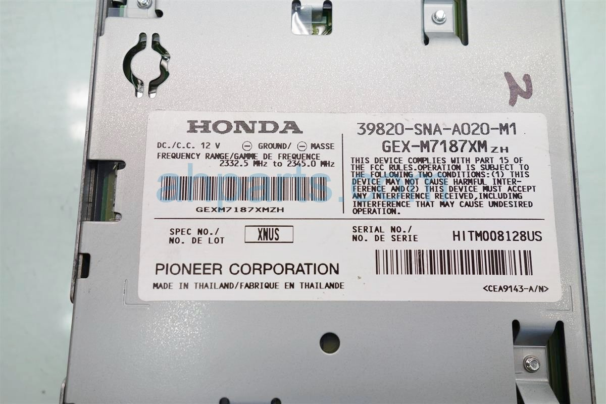 2009 Honda Civic Xm Unit 39820 SNA A02 Replacement