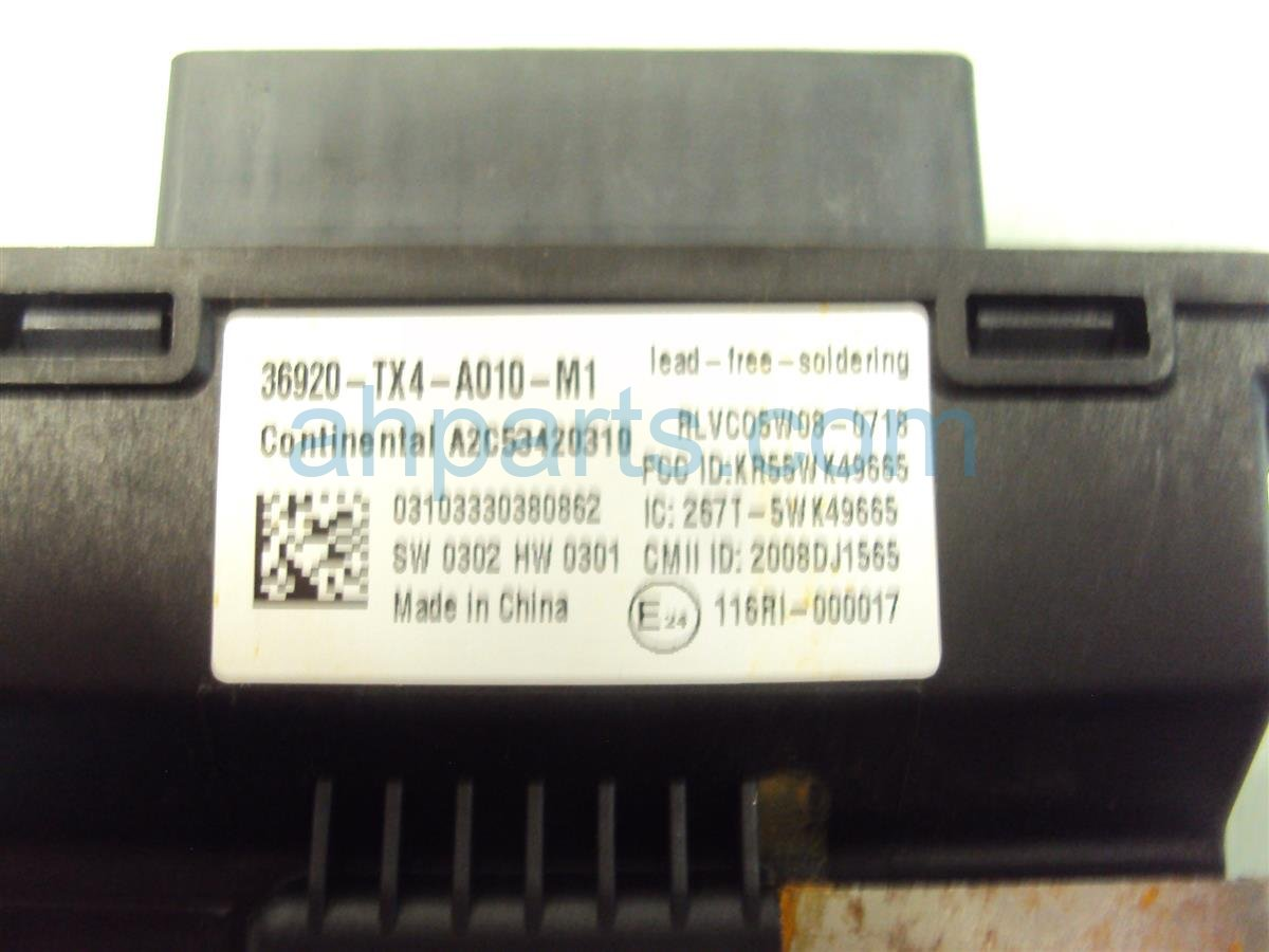 2014 Acura RDX Back Up Control Unit 36920 TX4 A01 Replacement