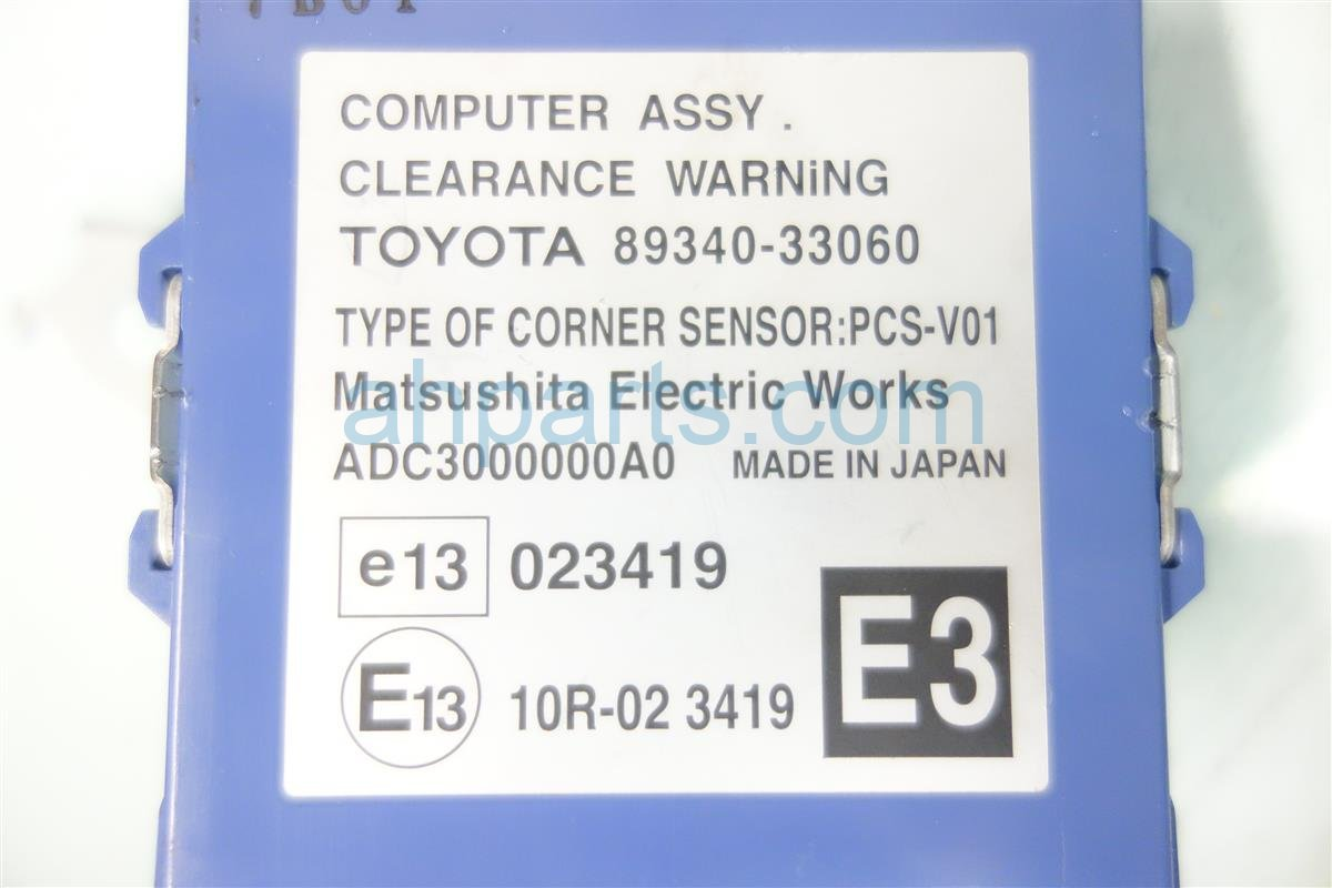 2007 Lexus Es 350 CLEARANCE WARNING COMPUTER 89340 330 8934033061 Replacement